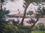 Watercolor Art - Annisquam Light Beneath The Trees