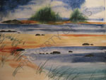 Watercolor Art - Stormy Marsh